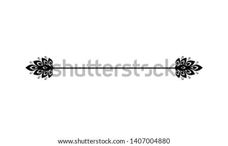 Flower ornament dividers. Hand drawn vines decoration, floral ornamental divider and sketch leaves ornaments