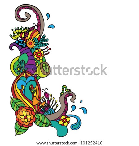 Flower ornament doodle corner vector