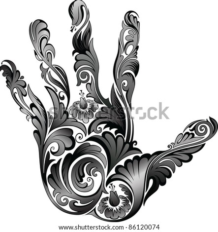 Flower ornament in the form of a palm B&W - stock vector