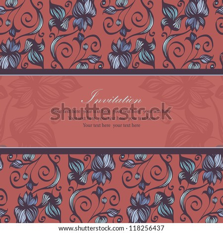 flower pattern background, invitation with your text here