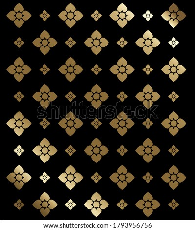 flower pattern in traditional Thai style, Line thai Traditional Thai style pattern vector illustration, Concept The Arts of Thailand. Thai Painting design.