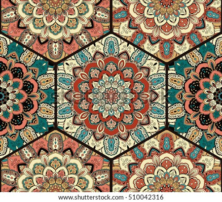 Flower Pattern. Seamless blue brown tile boho background. Intricate floral hexagon design element for wallpaper, gift paper, fabric print, furniture, curtain. Unusual honey comb decorative ornament.