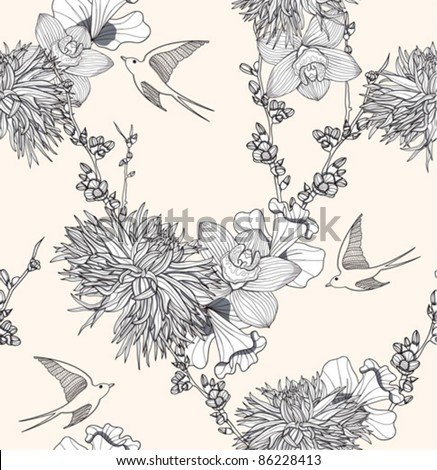 Flower pattern Seamless floral pattern with birds. Elegant and romantic background with swallows.