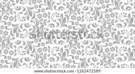 stock-vector-flower-pattern-seamless-white-and-gray-ornament-graphic-vector-background-ornament-for-fabric