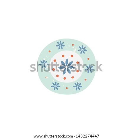 Flower pattern simple background for simple ceramic plate, cute pastel floral design in hand drawn cartoon style. Lovely ornament for crockery and art decoration, isolated vector illustration.