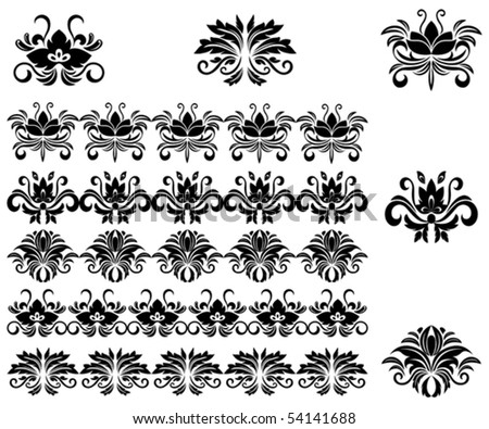Flower patterns and borders for design and ornate. Jpeg version also available in gallery
