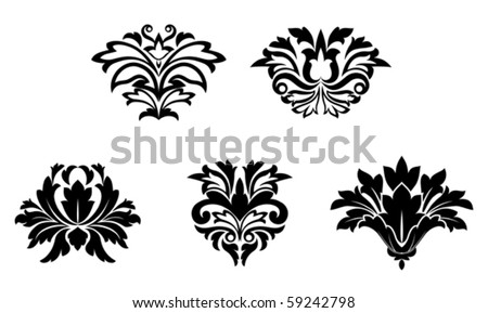 Flower patterns isolated on white for design
