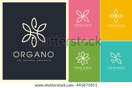 Flower Petals Logo. Linear and Natural Flower Design. Cosmetic, Beauty, Spa,Petals, Flowers, Monogram made with petals.