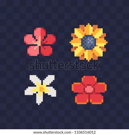 flower pixel art icon white