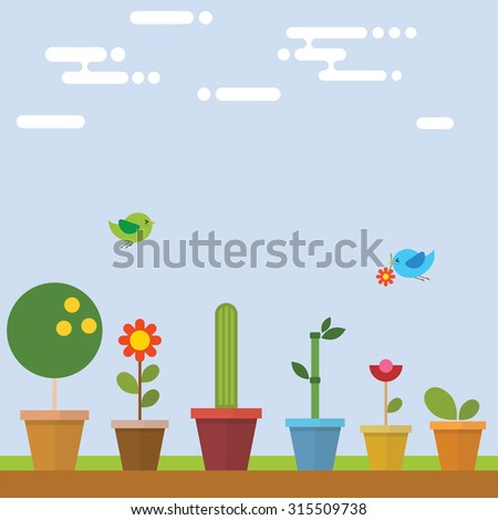 flower pot in garden with bird