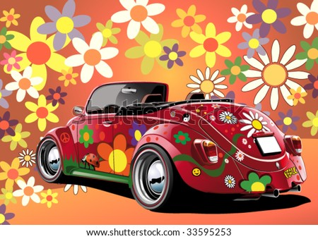 flower power convertible, illustration on colorful background