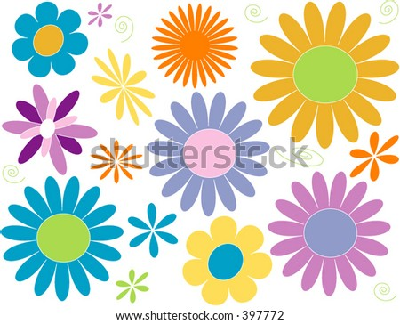 Flower Power Daisy design elements in pastel brights - stock vector