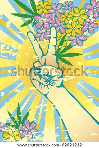 Flower power with hand gesturing symbol of peace. Grunge effect on separate layer can easily be removed