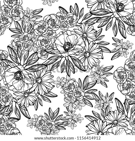 Flower print in bright colors. Elegance seamless pattern.