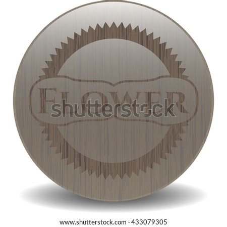 Flower realistic wood emblem
