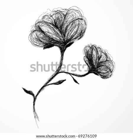 rose flower sketch. stock vector : Flower Rose