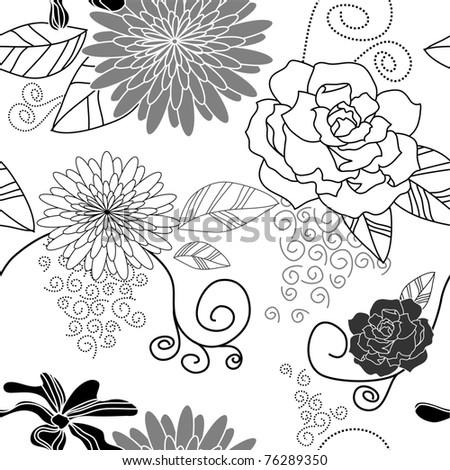 Flower seamless background black white