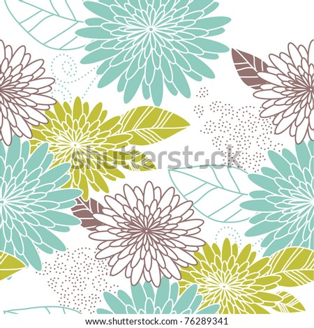 Flower seamless background blue and green