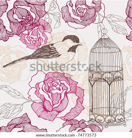 flower seamless background with bird and cage - stock vector