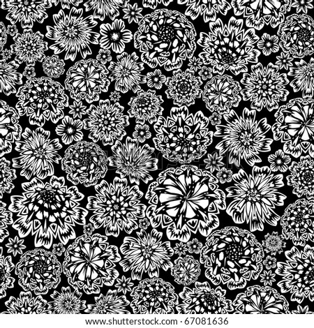 Flower seamless (black and white colors)