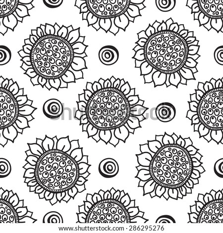 Flower seamless pattern, black and white flowers sunflowers, painted by hand.