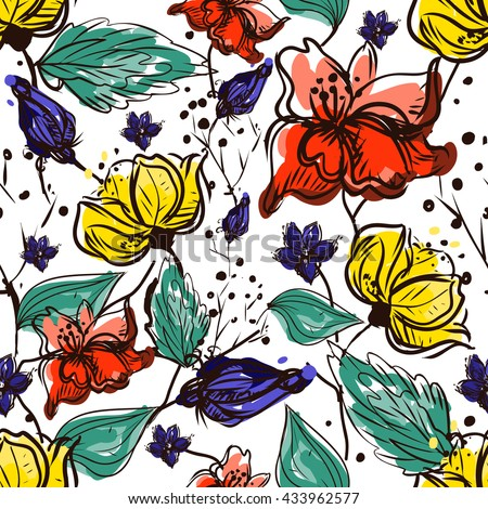 Flower seamless pattern. Vector Floral hand drawn texture. Sketch, free hand. Textile, ink graphic.