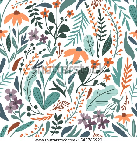 Flower seamless pattern. Vector texture with flat style floral elements: hand drawn wild flowers, leaves, herbs. Botany spring or summer collection. Cute hand drawn flat plants background