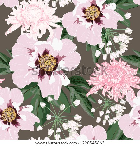Flower seamless pattern with beautiful pink peony and chrysanthemum flowers on vintage brown background template. Set of blooming floral for wedding invitations and greeting card design.