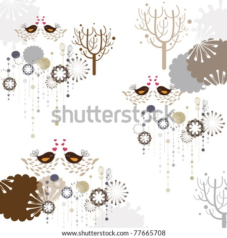 flower seamless pattern with bird (for fabric pattern, wallpaper or wrapping paper)