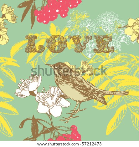 flower seamless pattern with birds and berry
