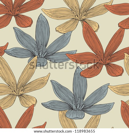 flower seamless retro pattern
