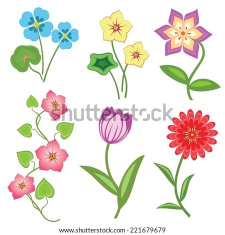 flower set on white background