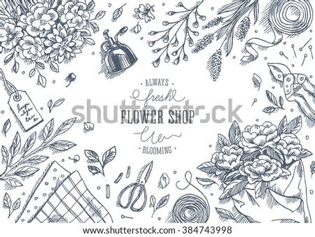 flower shop linear graphic