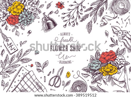 Flower shop. Linear graphic. Top view vintage illustration