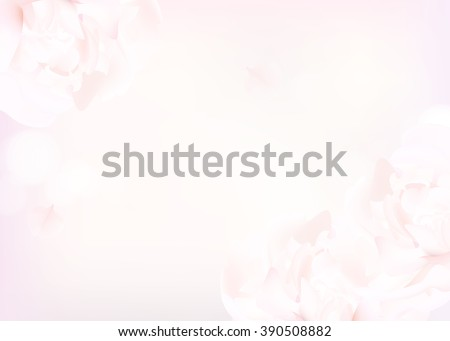 Flower soft background with peonies. Closeup of pink peony flowers, blur vector floral background, abstract editable template