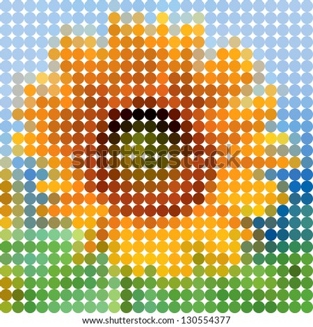 Flower sunflower. Vector circle color ton dots.
