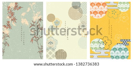 Flower template set in Japanese style. Bamboo and cherry blossom background. Abstract poster with Japanese pattern.