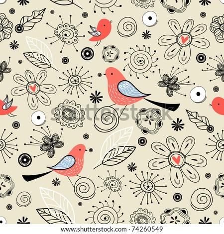 Flower texture with birds - stock vector