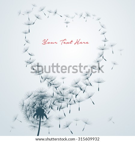 Stock Photo flower vector Dandelion on a wind loses the integrity forming love