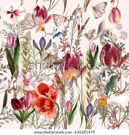 Flower vector pattern with assorted plants. Vintage pro-vance style