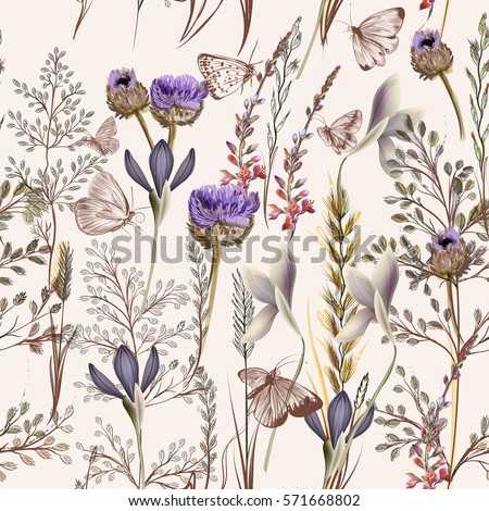 Flower vector pattern with plants. Vintage pro vance style