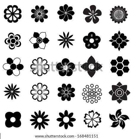 flower vector set  flowers icon