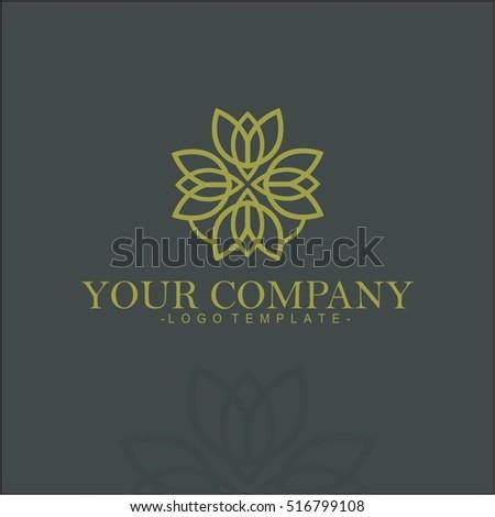 Flower vector set of linear design elements, logo design templates and mono line badges for packaging ,  vector illustration