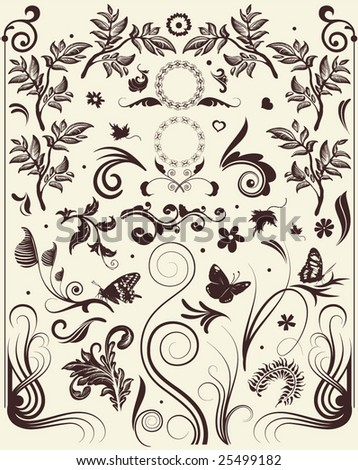 Flower vector swirls, floral frames and flourishes ancient ornaments and vintage herbs icons. Decorative plants design elements #25499182