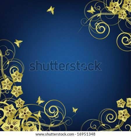 Flower vintage frame Ornament of golden flower branches  leaves and butterflies on blue background VECTOR (See Jpeg Also In My Portfolio)