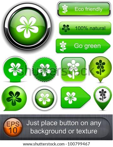 Flower web buttons for website or app. Vector eps10.