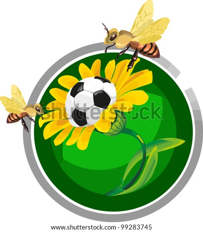 flower with a soccer ball around which the bees are flying in a circular form