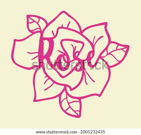 Flower with leaves and inscribed word rose Stock photo ©