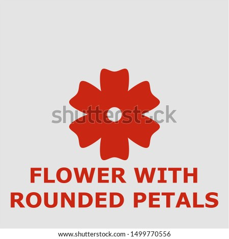 Flower with rounded petals symbol. Outline flower with rounded petals icon. Flower with rounded petals vector illustration for graphic art.