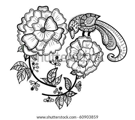 flower with the bird in the ethnic style on a white background